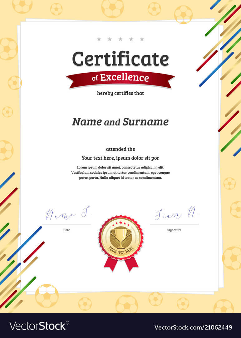 Portrait Certificate Template In Football Sport Vector Image For Football Certificate Template