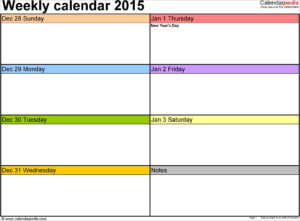 Powerpoint Calendar Template 2015 Best 2015 Weekly Calendar for Powerpoint Calendar Template 2015