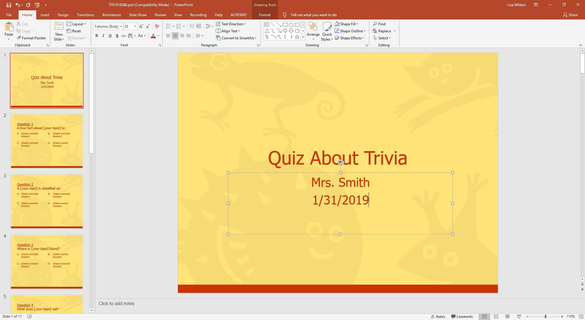 Powerpoint Template For A Multiple Choice Quiz Regarding Powerpoint Quiz Template Free Download