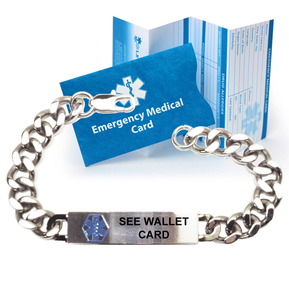 """Pre Engraved """"see Wallet Card"""" Traditional Curb Link Medical Alert  Bracelet. Choose From A Variety Of Sizes! Within Medical Alert Wallet Card Template"""