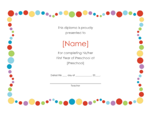 Pre-K Certificates Of Completion | Preschool Award inside Word Template Certificate Of Achievement