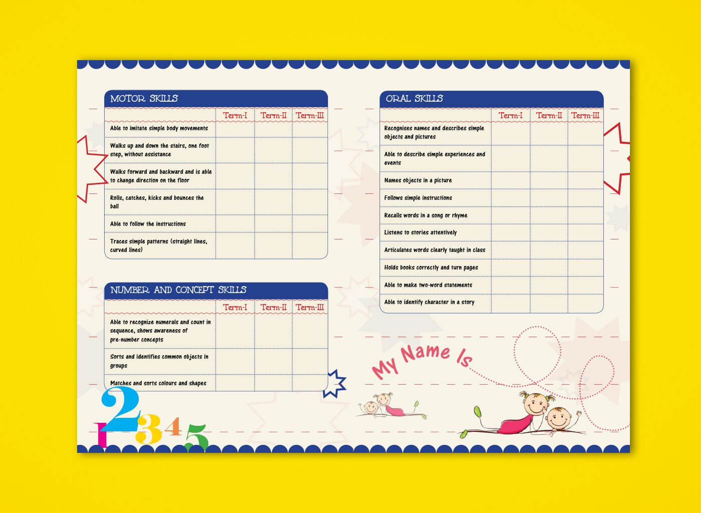 Pre Nursery Report Card On Behance   Report Card Ideas In Character Report Card Template