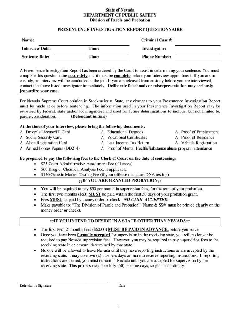 Pre Sentencing Report Template - Fill Online, Printable Regarding Presentence Investigation Report Template