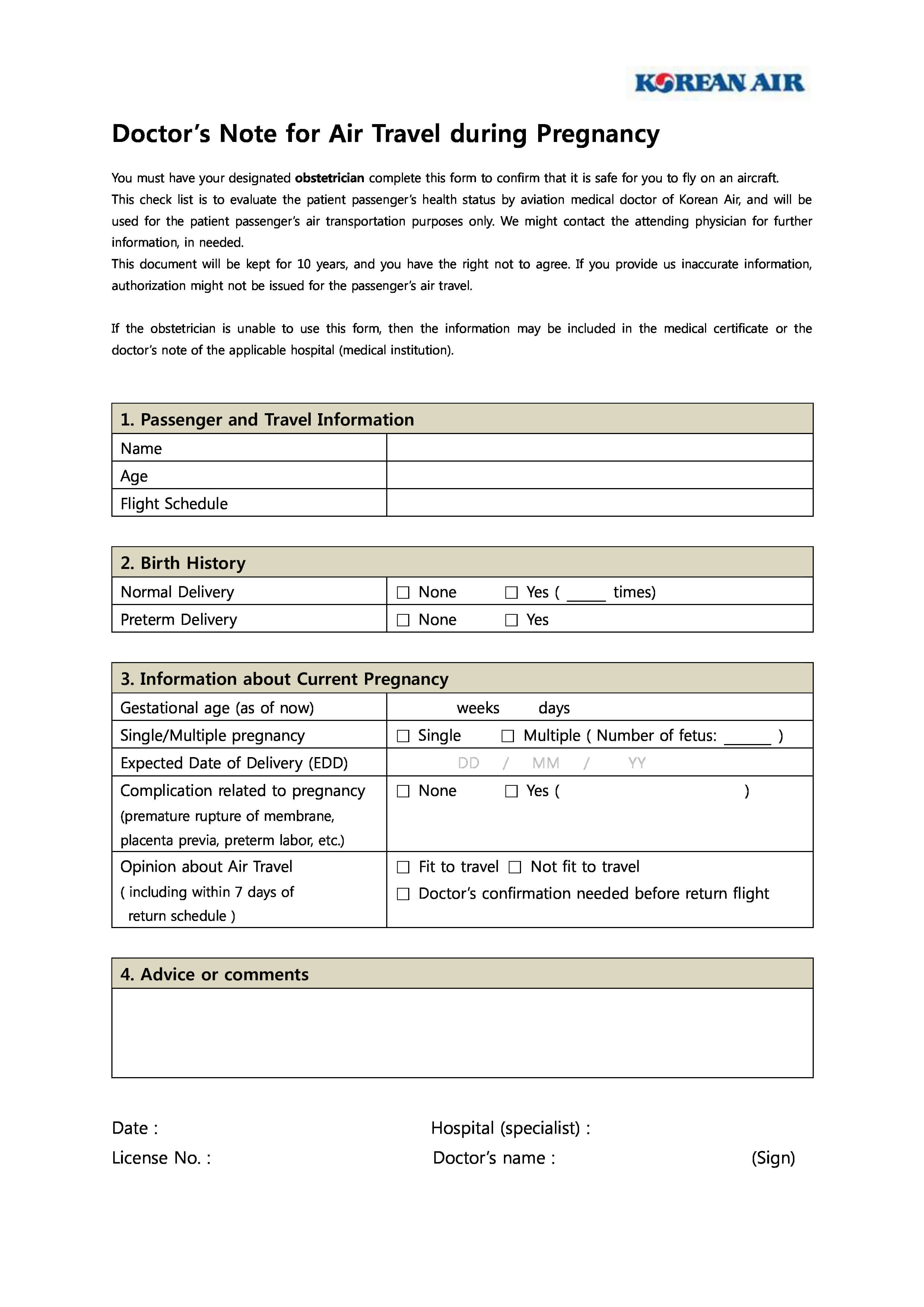 Pregnancy Travel Form Eliminate Your Fears And Doubts - Grad With Fit To Fly Certificate Template