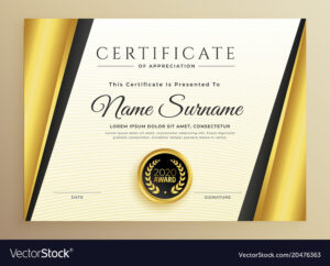 Premium Certificate Template Design With Golden regarding High Resolution Certificate Template