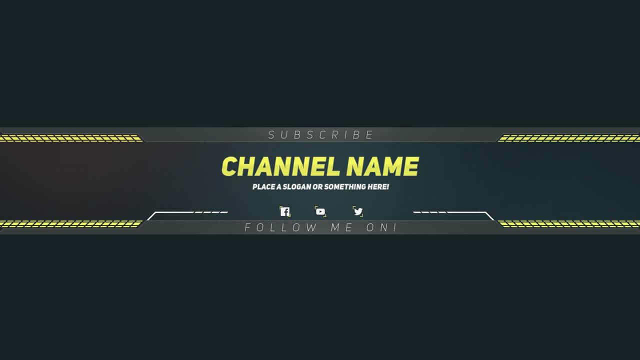 Premium Youtube Banner Template – Photoshop Template In Youtube Banners Template