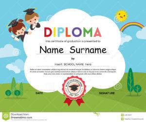 Preschool Elementary School Kids Diploma Certificate inside Preschool Graduation Certificate Template Free