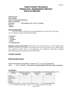 Preschool Evaluation Report Template for Deviation Report Template