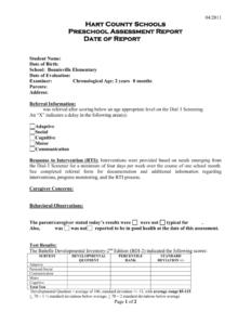 Preschool Evaluation Report Template intended for Intervention Report Template