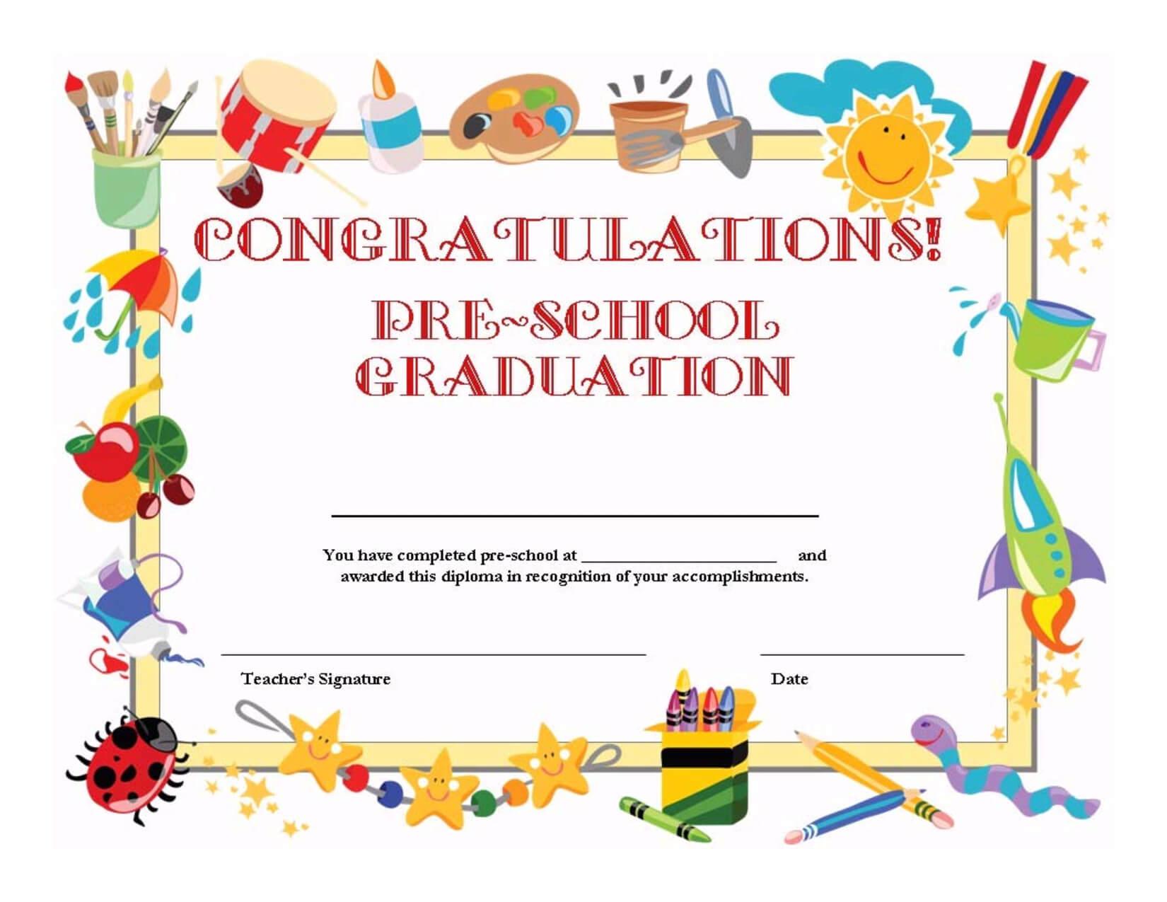 Preschool Graduation Certificate Template Free Intended For Classroom Certificates Templates