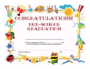 Preschool Graduation Certificate Template Free with Preschool Graduation Certificate Template Free
