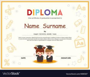Preschool Kids Diploma Certificate Template with Preschool Graduation Certificate Template Free