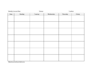 Preschool Lesson Plan Template – Lesson Plan Book Template intended for Blank Preschool Lesson Plan Template
