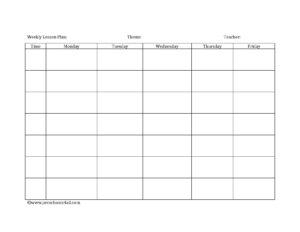 Preschool Lesson Plan Template – Lesson Plan Book Template with Teacher Plan Book Template Word