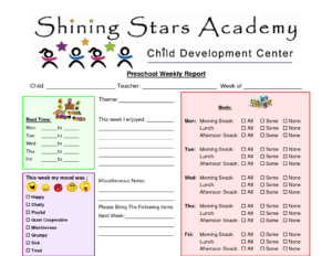 Preschool Progress Report Template | Pre-K | Preschool Daily with regard to Daily Report Card Template For Adhd