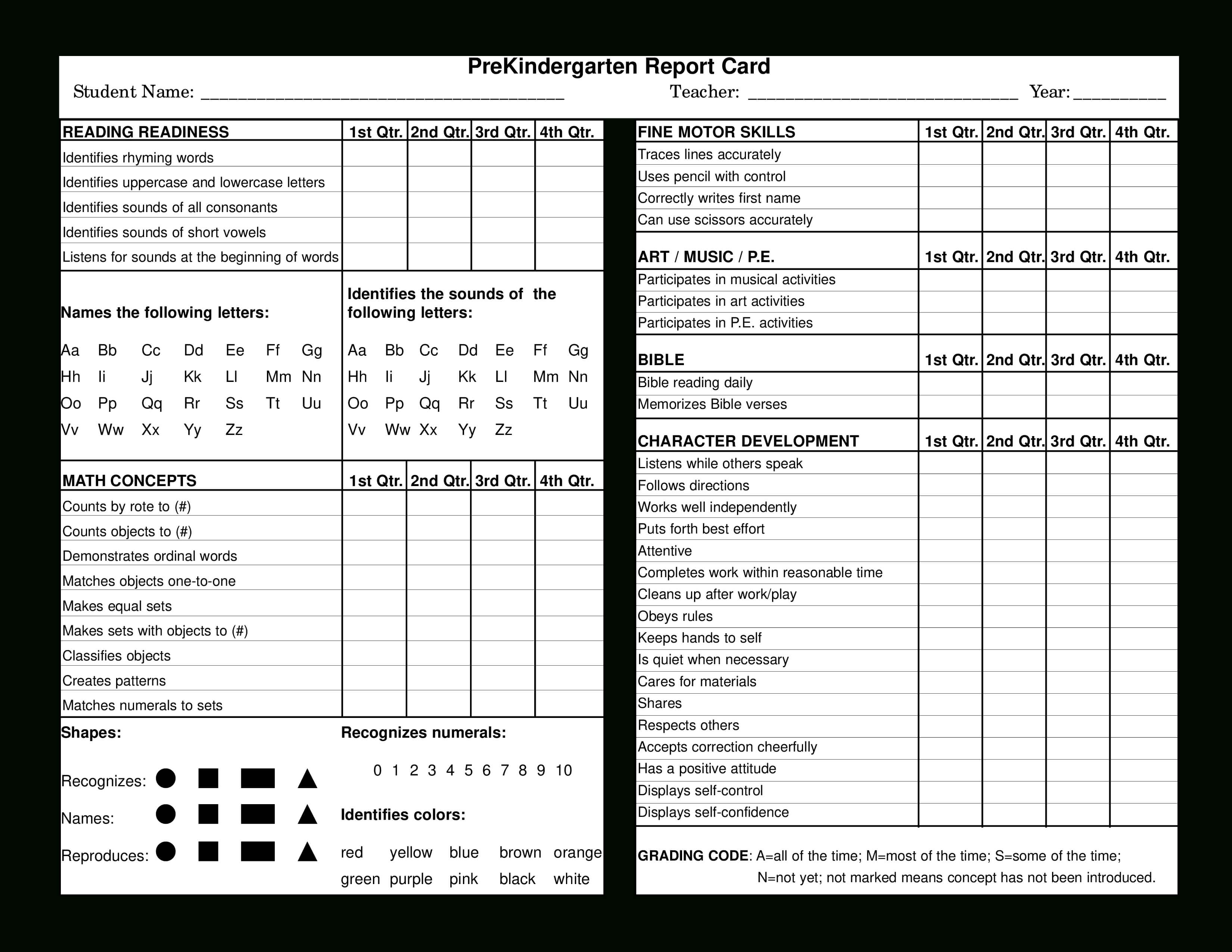 Preschool Report Card   Templates At Allbusinesstemplates With Regard To Character Report Card Template