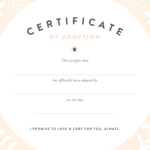 Pretty Fluffy with Pet Adoption Certificate Template