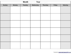 Print Blank Calendar Template Weekly Calendar Template within Blank Activity Calendar Template