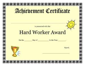 Printable Achievement Certificates Kids | Hard Worker for Free Printable Certificate Of Achievement Template