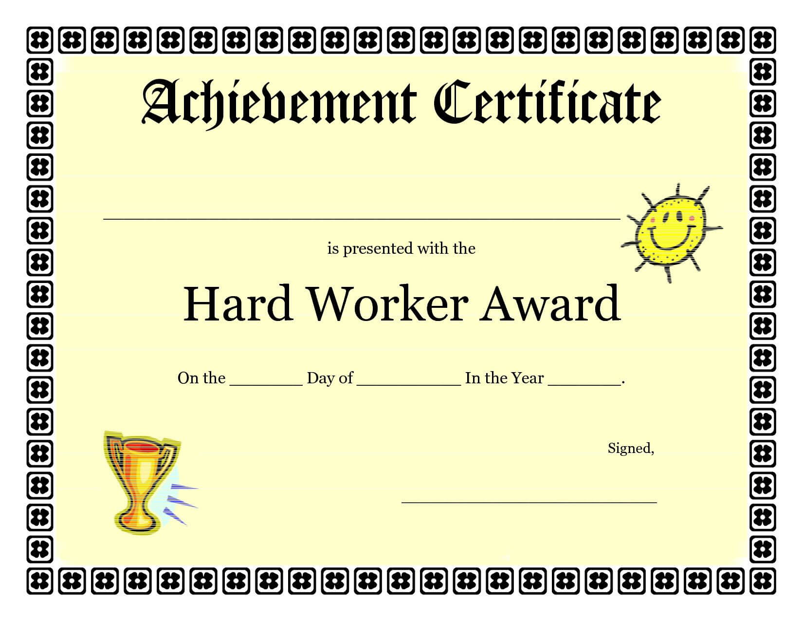Printable Achievement Certificates Kids | Hard Worker For Pages Certificate Templates