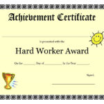 Printable Achievement Certificates Kids | Hard Worker Inside Free Vbs Certificate Templates