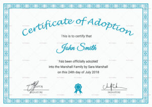 Printable Adoption Certificate Template Throughout Blank Adoption Certificate Template