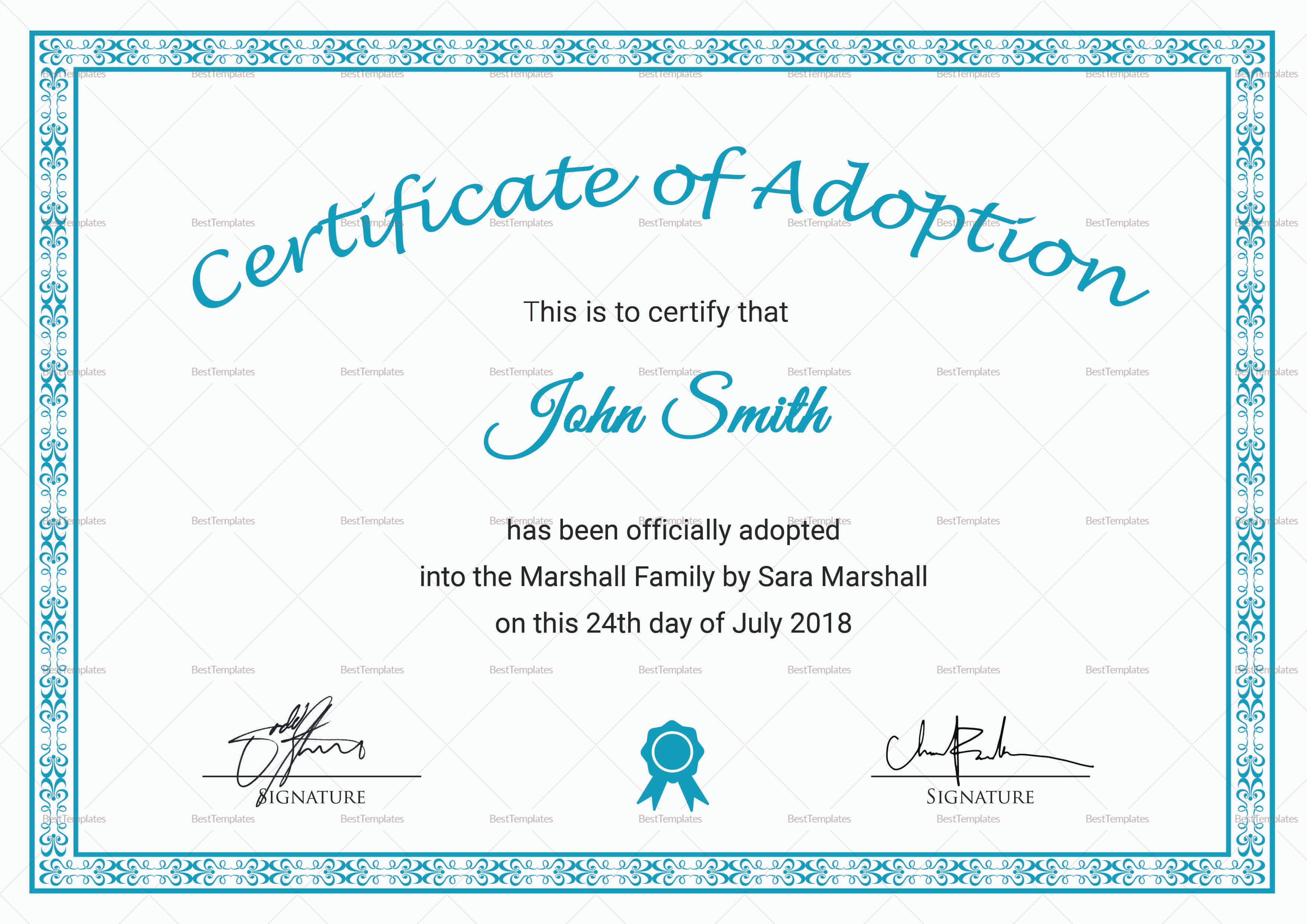 Printable Adoption Certificate Template Throughout Blank Adoption Certificate Template