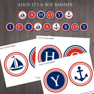 "Printable ""ahoy Its A Boy'' Banner – Diy Nautical Baby inside Nautical Banner Template"