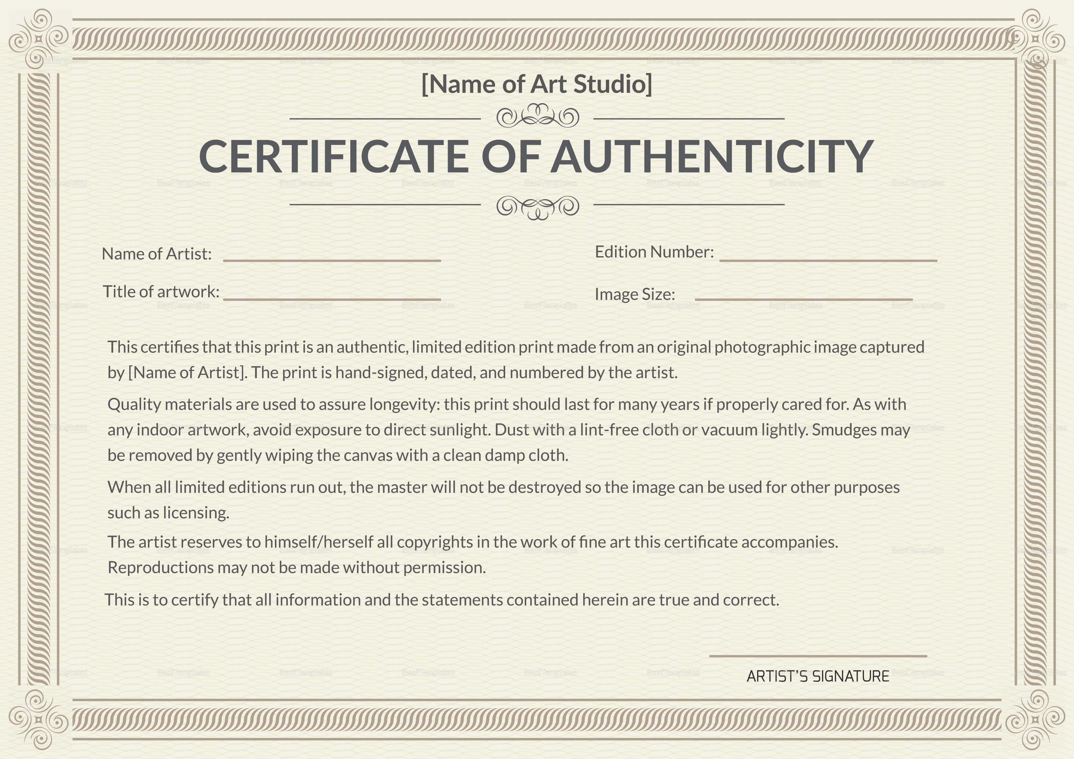 Printable Authenticity Certificate Template Inside Certificate Of Authenticity Template