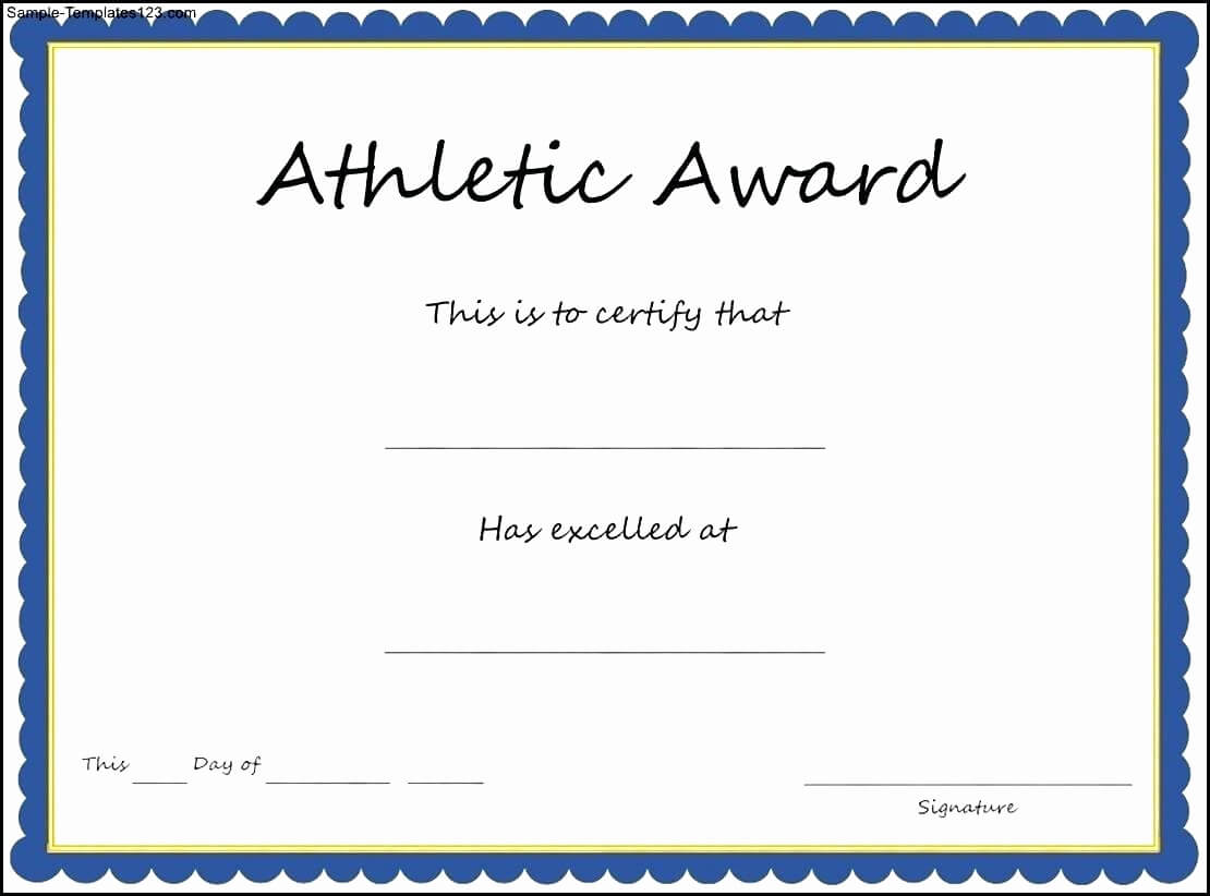 Printable Awards Templates And Template Printable Pertaining To Athletic Certificate Template
