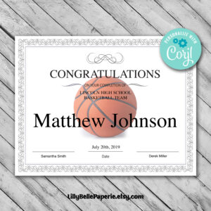 Printable Basketball Certificate Template – Editable Certificate Template –  Basketball Certificate Template Personalized Diploma Certificate intended for Basketball Camp Certificate Template