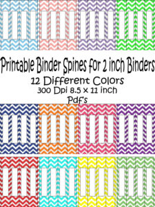 Printable Binder Spine Pack Size 2 Inch-12 Different Colors regarding 3 Inch Binder Spine Template Word