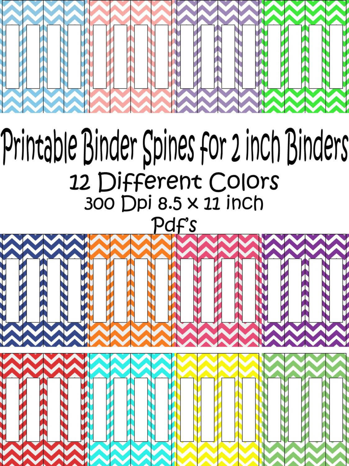 Printable Binder Spine Pack Size 2 Inch 12 Different Colors Regarding 3 Inch Binder Spine Template Word