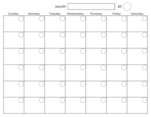 Printable Blank Monthly Calendar | Calendar Template pertaining to Blank Activity Calendar Template
