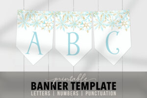 Printable Blue Snow Banner Template – Editable Banner Flags Snowflakes  Customizable Banner Pdf Bridal Shower, Birthday, Baby Shower, Party Intended For Bride To Be Banner Template