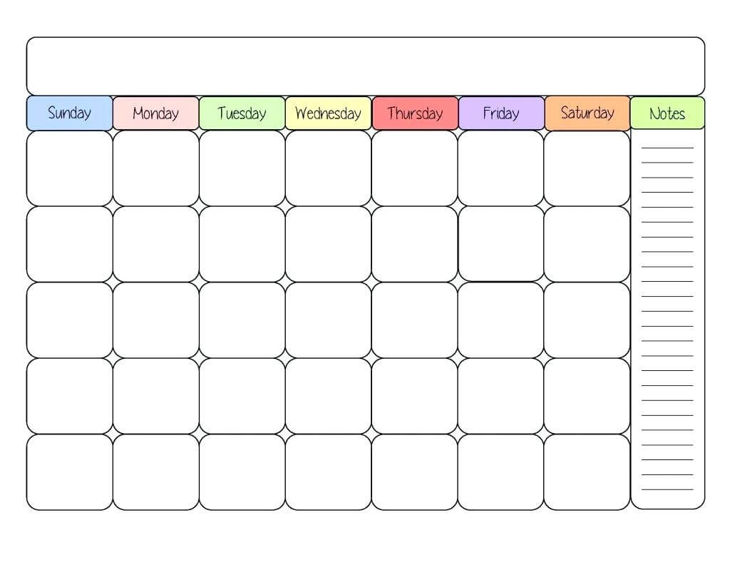 Printable Calendar Kid Friendly | Printable Calendar 2019 Intended For Blank Calendar Template For Kids