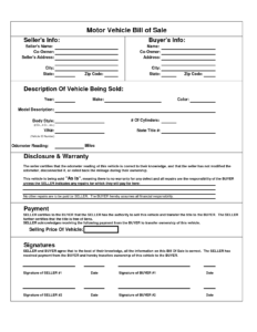Printable Car Bill Of Sale Pdf | Bill Of Sale For Motor with Car Bill Of Sale Word Template