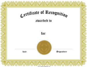Printable Certificate Of Recognition – Top Image Gallery Site with Recognition Of Service Certificate Template