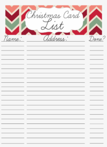 Printable Christmas Card Address List With Template Pertaining To Christmas Card List Template