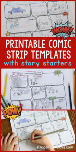 Printable Comic Strip Templates With Story Starters – Frugal in Printable Blank Comic Strip Template For Kids