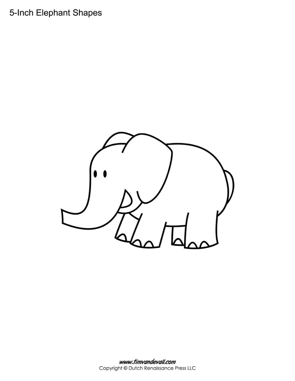 Printable Elephant Templates / Elephant Shapes For Kids Intended For Blank Elephant Template