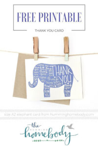 Printable Elephant Thank You Card | Printables | The Best inside Thank You Card Template For Baby Shower