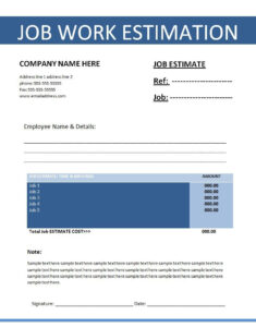 Printable Estimate Templates | Click On The Download Button For Button Template For Word