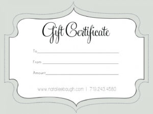 Printable Fillable Gift Certificate Template Custom throughout Fillable Gift Certificate Template Free