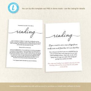 Printable Funeral Memory Card Template, Reading Insert Or Prayer Keepsake,  Memorial Program, Easy To Edit, Share A Memory, Templett for In Memory Cards Templates