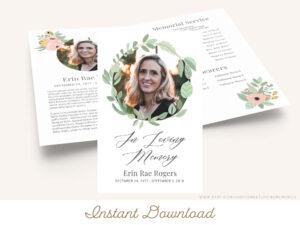Printable Funeral Program Template | Greenery Memorial Regarding Memorial Brochure Template