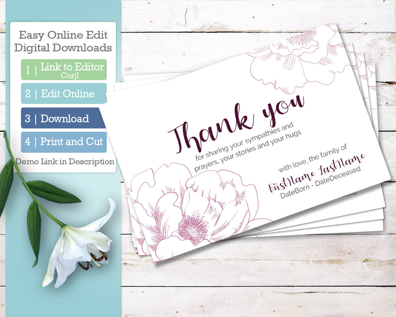 Printable Funeral Thank You Cards. Personalized Sympathy Thank You,  Editable Bereavement Thank You Card Download With Regard To Sympathy Thank You Card Template