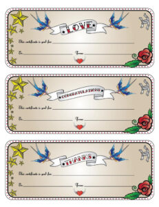 """Printable Gift Certificates – """"this Certificate Is Good For """"  -Rockabilly/tattoo, Chevron Or Bubbles pertaining to Tattoo Gift Certificate Template"""