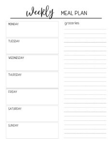 Printable Meal Planning Template – Paper Trail Design throughout Blank Meal Plan Template
