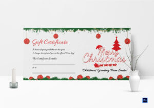 Printable Merry Christmas Gift Certificate Inside Gift Certificate Template Photoshop